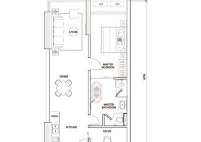 Unit Type: 1 Bedroom + Study